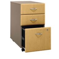 BBF Bush Series A 3-Drawer Mobile File Cabinet in Light Oak Assembled - WC64353PSU