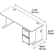 "BBF Bush Series A Desk with 2-drawer Mobile Pedestal Slate and White Spectrum 72""W - SRA028SLSU"