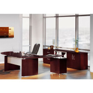 "Mayline Napoli Veneer Series Suite 16 - Executive Desk 72"" with Return on Left and Low Wall Cabinet and Lateral File Mahogany - NT16"