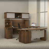 """* MONTHLY SPECIAL! Mayline Sterling Executive U-Shaped Desk 72"""" with two Pedestals Textured Brown Sugar - STL40H3-TBS"""