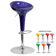 Flash Furniture Contemporary Plastic Adjustable Height Bar Stool with Chrome Base - CH-TC3-103-XX-GG