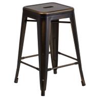 "Flash Furniture Distressed Copper Metal Indoor-Outdoor Counter Height Stool 24""H - ET-BT3503-24-COP-GG"