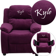 Flash Furniture Kid's Recliner with Storage Dreamweaver Embroiderable Purple Microfiber - BT-7985-KID-MIC-PUR-EMB-GG