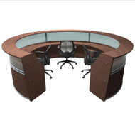 MONTHLY SPECIAL! OFM Marque 5-Unit Plexi-Reception Station with Mobile Files and Chairs Package - MARQUE8