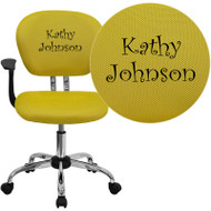 Flash Furniture Embroidered Mid-Back Yellow Mesh Task Chair with Arms - H-2376-F-YEL-ARMS-EMB-GG