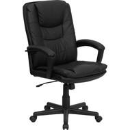 Flash Furniture High Back Black Leather Executive Swivel Office Chair - BT-2921-BK-GG