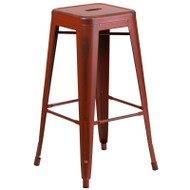 """Flash Furniture Distressed Kelly Red Metal Indoor-Outdoor Barstool 30""""H - ET-BT3503-30-RD-GG"""