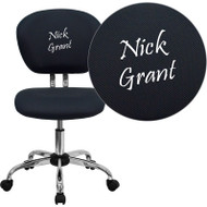 Flash Furniture Mid-Back Gray Mesh Task Chair with Chrome Base and Includes Embroidery - H-2376-F-GY-EMB-GG