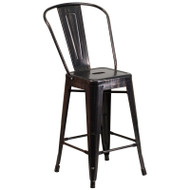 "Flash Furniture Black-Antique Gold Metal Indoor-Outdoor Counter Height Chair 24""H - CH-31320-24GB-BQ-GG"