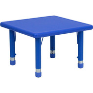 Flash Furniture 24'' Square Height Adjustable Blue Plastic Activity Table - YU-YCX-002-2-SQR-TBL-BLUE-GG