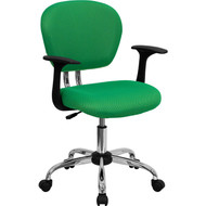 Flash Furniture Mid-Back Bright Green Mesh Task Chair with Arms and Chrome Base - H-2376-BRGRN-ARMS-GG