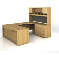 BBF Bush Series C Package U-Shaped Bowfront with Hutch and Lateral File Light Oak Right - SRC005LOR