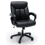 OFM Essentials Mid-back Black Leather Task Chair with Black Frame - ESS-6020-BLK