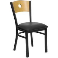 Flash Furniture Circle Back Metal Restaurant Chair with Black Seat and Natural Wood Back - XU-DG-6F2B-CIR-BLKV-GG