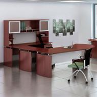 "* MONTHLY SPECIAL! Mayline Medina Laminate Executive 63"" Desk U-Shaped Package Right Mahogany - MNT29-LMH"