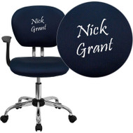 Flash Furniture Embroidered Mid-Back Blue Mesh Task Chair with Arms - H-2376-F-BLUE-ARMS-EMB-GG