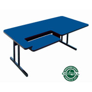 Correll High-Pressure Bi-level Computer Desk or Training Table with One Keyboard Tray 30 x 72 - BL3072