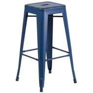"Flash Furniture Distressed Antique Blue Metal Indoor-Outdoor Barstool 30""H - ET-BT3503-30-AB-GG"