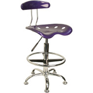 Flash Furniture Vibrant Violet and Chrome Drafting / Bar Stool with Tractor Seat - LF-215-VIOLET-GG