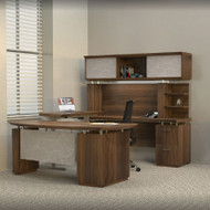 * MONTHLY SPECIAL! Mayline Sterling Executive U-Shaped Desk 72 with two Pedestals Textured Brown Sugar - STL41H3-TBS