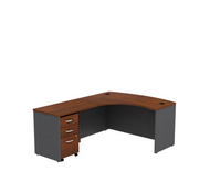 BBF Bush Series C Package L-Shaped Desk with Mobile File Cabinet in Hansen Cherry Left - SRC00HCLSU