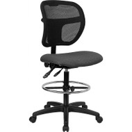 Flash Furniture Mid-Back Mesh Drafting Stool with Gray Fabric Seat - WL-A7671SYG-GY-D-GG