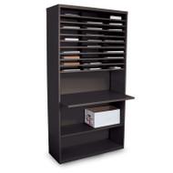 "Marvel 30 Compartment Mail Sorter Station with Adjustable Work Surface Black 80""H x 42""W - UTMS8042_BLK"