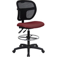Flash Furniture Mid-Back Mesh Drafting Stool with Burgundy Fabric Seat - WL-A7671SYG-BY-D-GG
