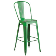 """Flash Furniture Distressed Green Metal Indoor-Outdoor Bar Height Chair 30""""H - ET-3534-30-GN-GG"""