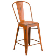 """Flash Furniture Distressed Orange Metal Indoor-Outdoor Counter Height Chair 24""""H - ET-3534-24-OR-GG"""