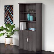 "Bush BBF Studio C Bookcase 5-Shelf with Doors 36"" Storm Gray - STC015SG"