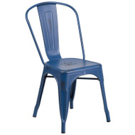 Flash Furniture Distressed Antique Blue Metal Indoor-Outdoor Stackable Chair - ET-3534-AB-GG