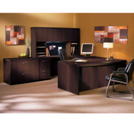 """* MONTHLY SPECIAL! Mayline Aberdeen Executive U-Shaped Desk 66"""" w/Wood Door Hutch Package Mocha - AT41"""