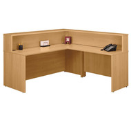 BBF Bush Series C Reception Desk Light Oak without Pedestals - OAKPackageC