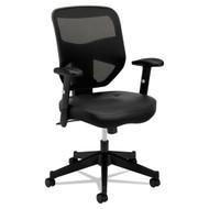Basyx by HON HVL531 Black Leather/ Mesh High-Back Chair - BSXVL531SB11