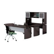 "* MONTHLY SPECIAL! Mayline Medina Laminate Executive 63"" Desk U-Shaped Package Left Mocha - MNT30-LDC"
