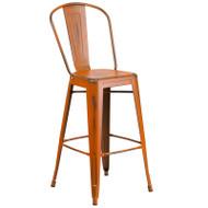 "Flash Furniture Distressed Orange Metal Indoor-Outdoor Bar Height Chair 30""H - ET-3534-30-OR-GG"