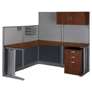 MONTHLY SPECIAL! Bush Furniture Office-in-an-Hour L-Shaped Desk Package - WC36494-03STGK