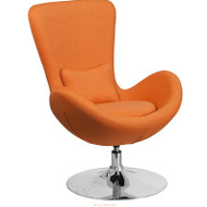 Flash Furniture Egg Series Reception Lounge Side Chair Orange Fabric - CH-162430-OR-FAB-GG