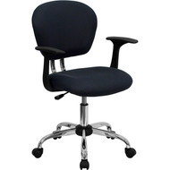 Flash Furniture Mid-Back Gray Mesh Task Chair with Arms and Chrome Base - H-2376-F-GY-ARMS-GG