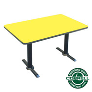 "Correll Bar and Cafe Breakroom Table Rectangle with T-Base 30""x48"" - BTT3048"