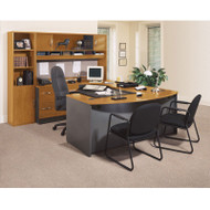 BBF Bush Series C Package Executive U-Shaped Bowfront Desk Natural Cherry - NCPackageC