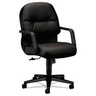 HON 2090 Series Pillow-Soft Managerial Leather Mid-Back Swivel Tilt Chair Black - 2092SR11T