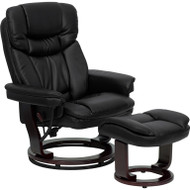 Flash Furniture Contemporary Black Leather Recliner and Ottoman with Swiveling Wood Base - BT-7821-BK-GG