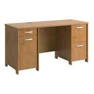 "Bush Envoy Series Double Pedestal Desk 58""W Natural Cherry - PR76360K"