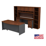 BBF Bush Series C Package Executive Bowfront Desk with Credenza, Hutch and Bookcases Hansen Cherry - SRC0010HCSU