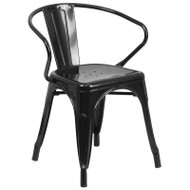 Flash Furniture Black Metal Indoor-Outdoor Chair with Arms - CH-31270-BK-GG