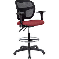 Flash Furniture Mid-Back Mesh Drafting Stool with Burgundy Fabric Seat and Arms - WL-A7671SYG-BY-AD-GG