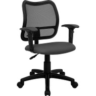 Flash Furniture Mid Back Mesh Task Chair with Gray Fabric Seat and Arms - WL-A277-GY-A-GG