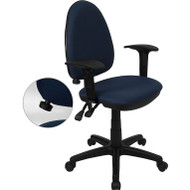 Flash Furniture Mid-Back Fabric Multi-functional Drafting Stool with Arms Navy Blue - WL-A654MG-NVY-AD-GG